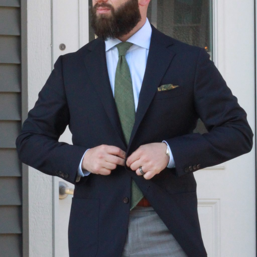 navy, sport coat, hopsack, odd jacket, green tie, grey trousers