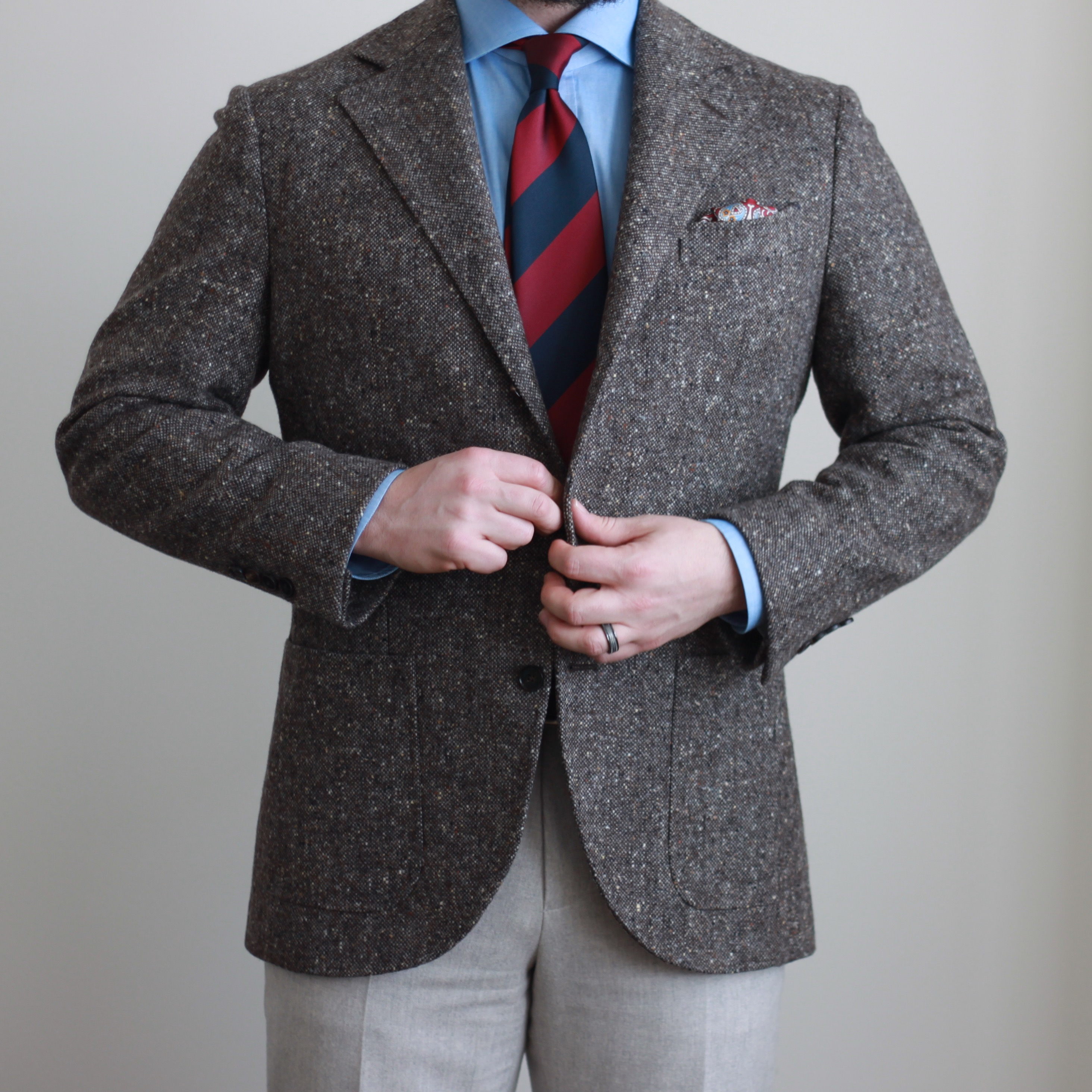 tweed, donegal, block stripe tie, odd jacket, sport coat, flannel trousers