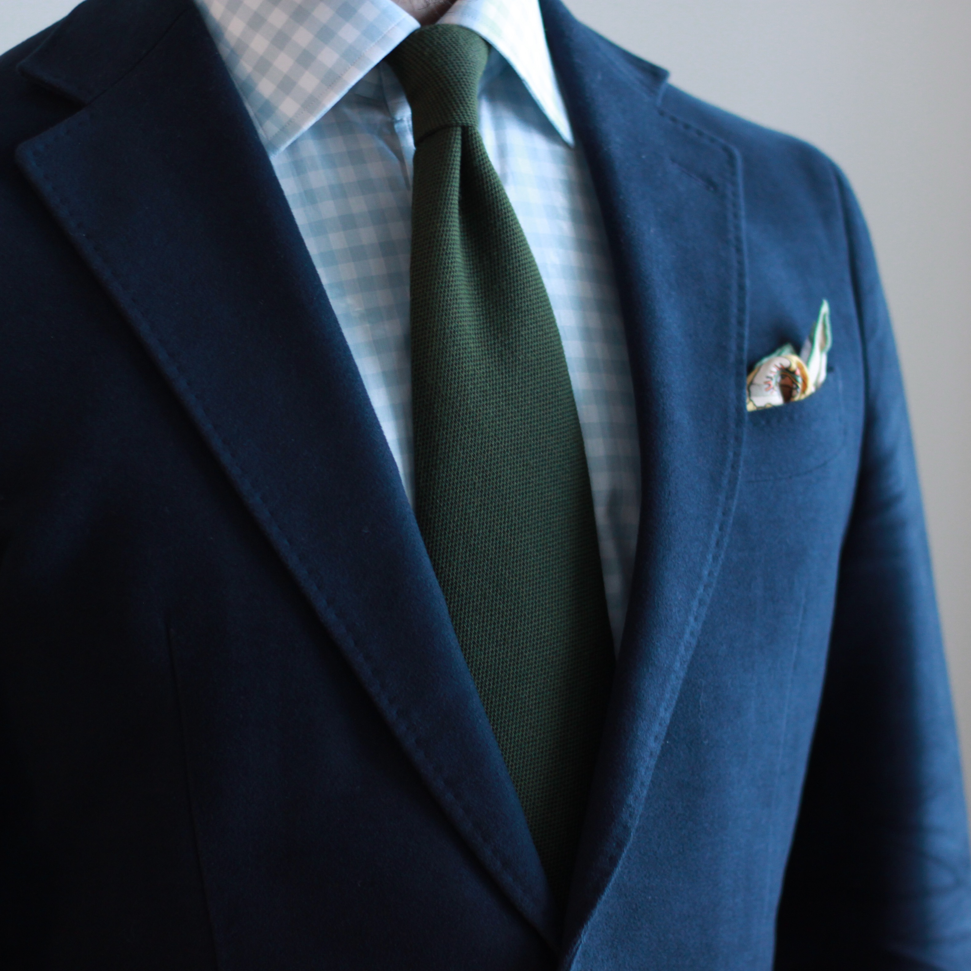 gingham shirt, moleskin, green tie, odd jacket, sport coat, pocket square, kent wang, spier mackay