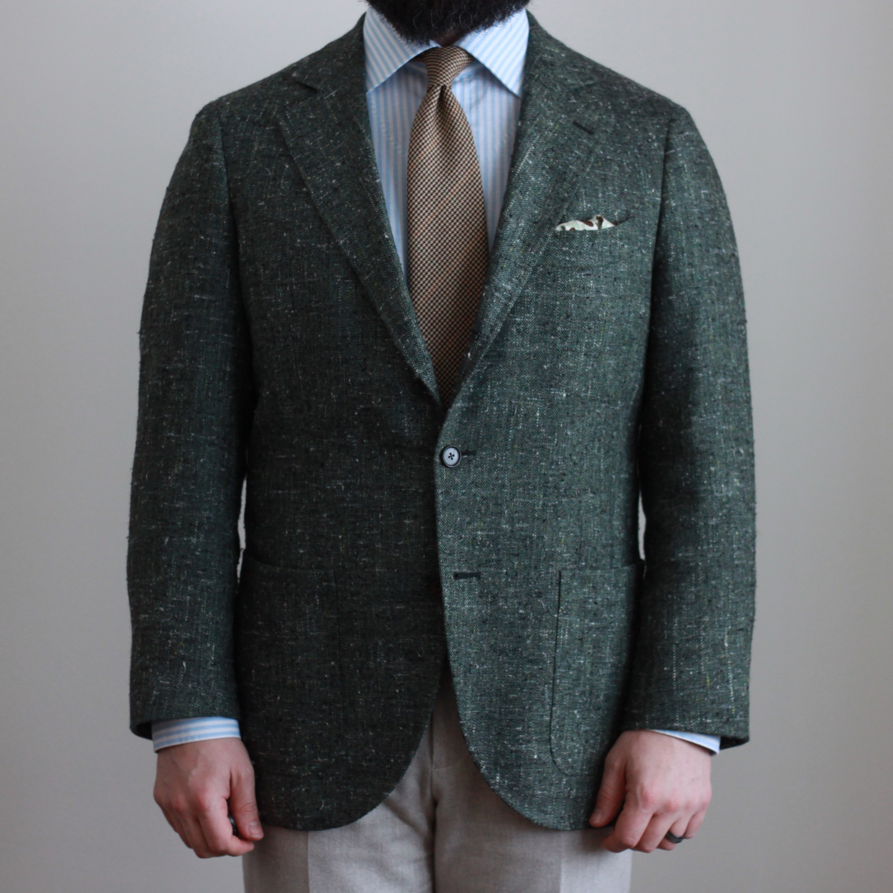 green slub, E Thomas, odd jacket, sport coat, flannel trousers, brown tie, blue stripe shirt