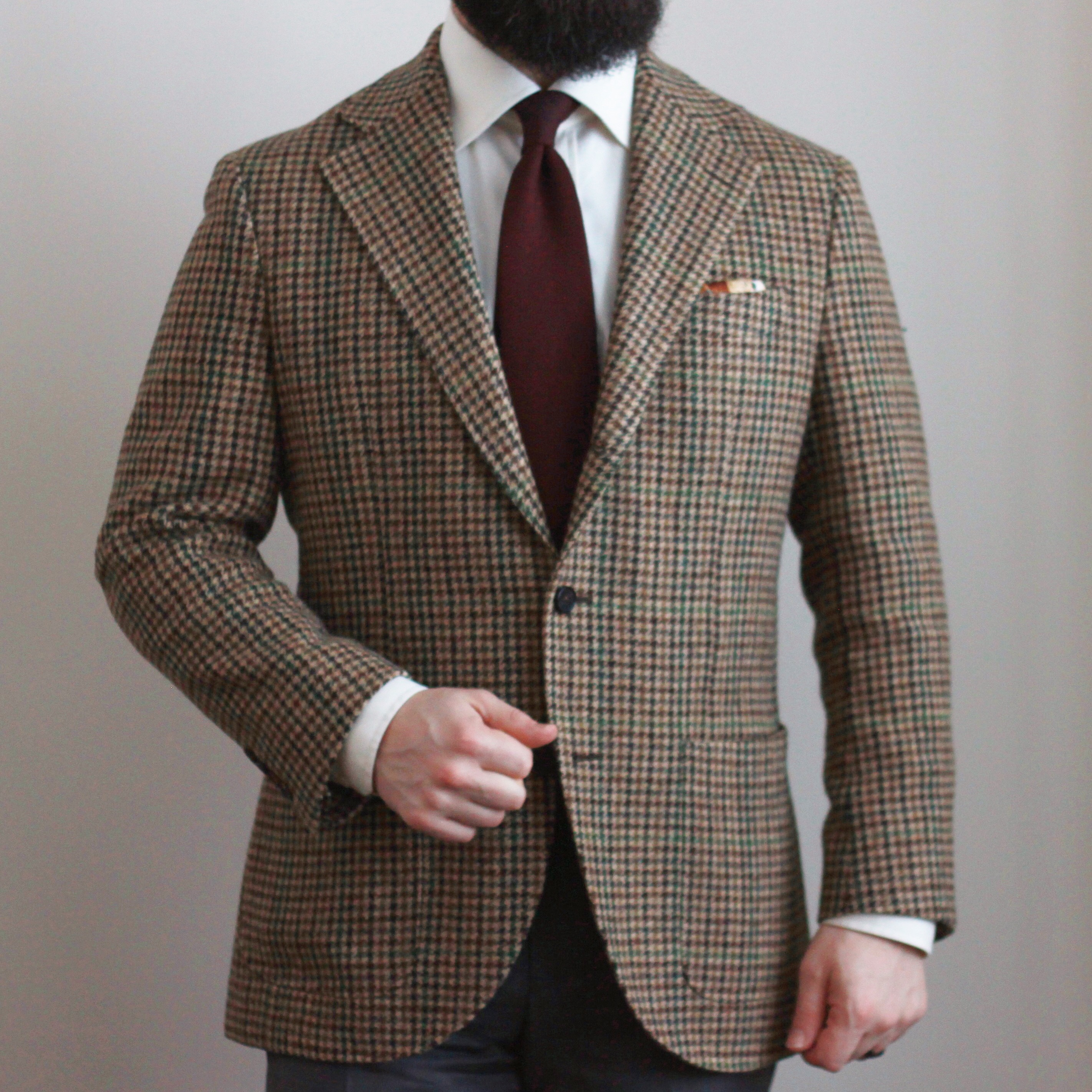 gunclub check, tweed, odd jacket, sport coat, navy grenadine, ecru shirt, bold tweed jacket