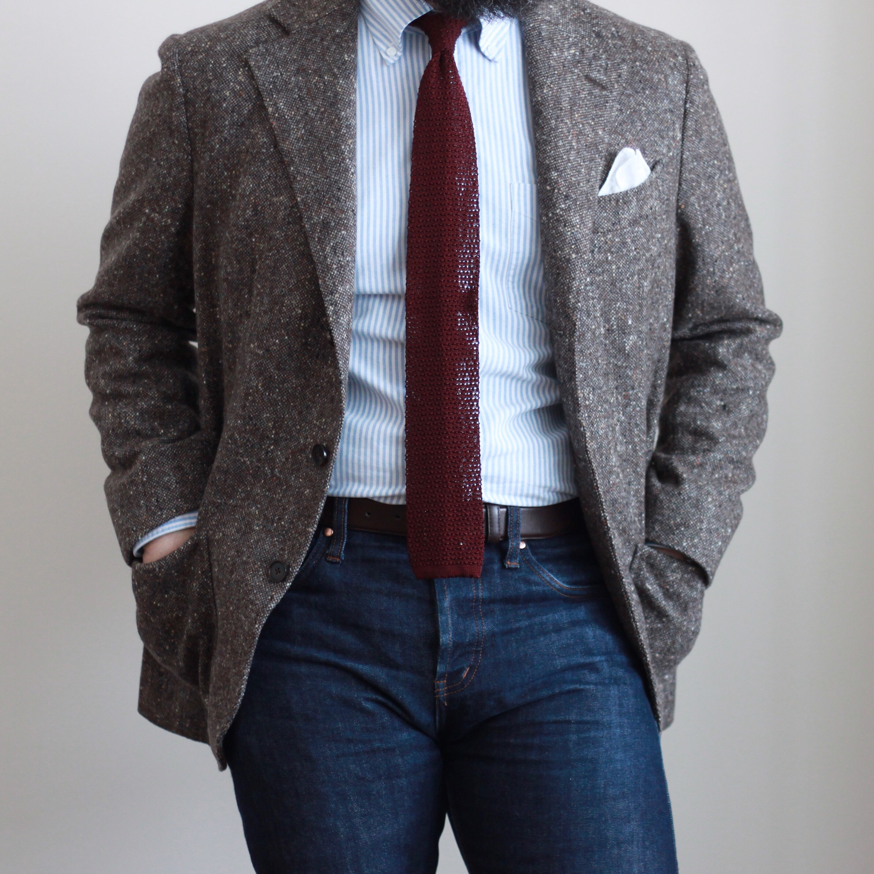 inspiration, insight, sport coat, jeans and tie, denim, OCBD, pocket square, menswear