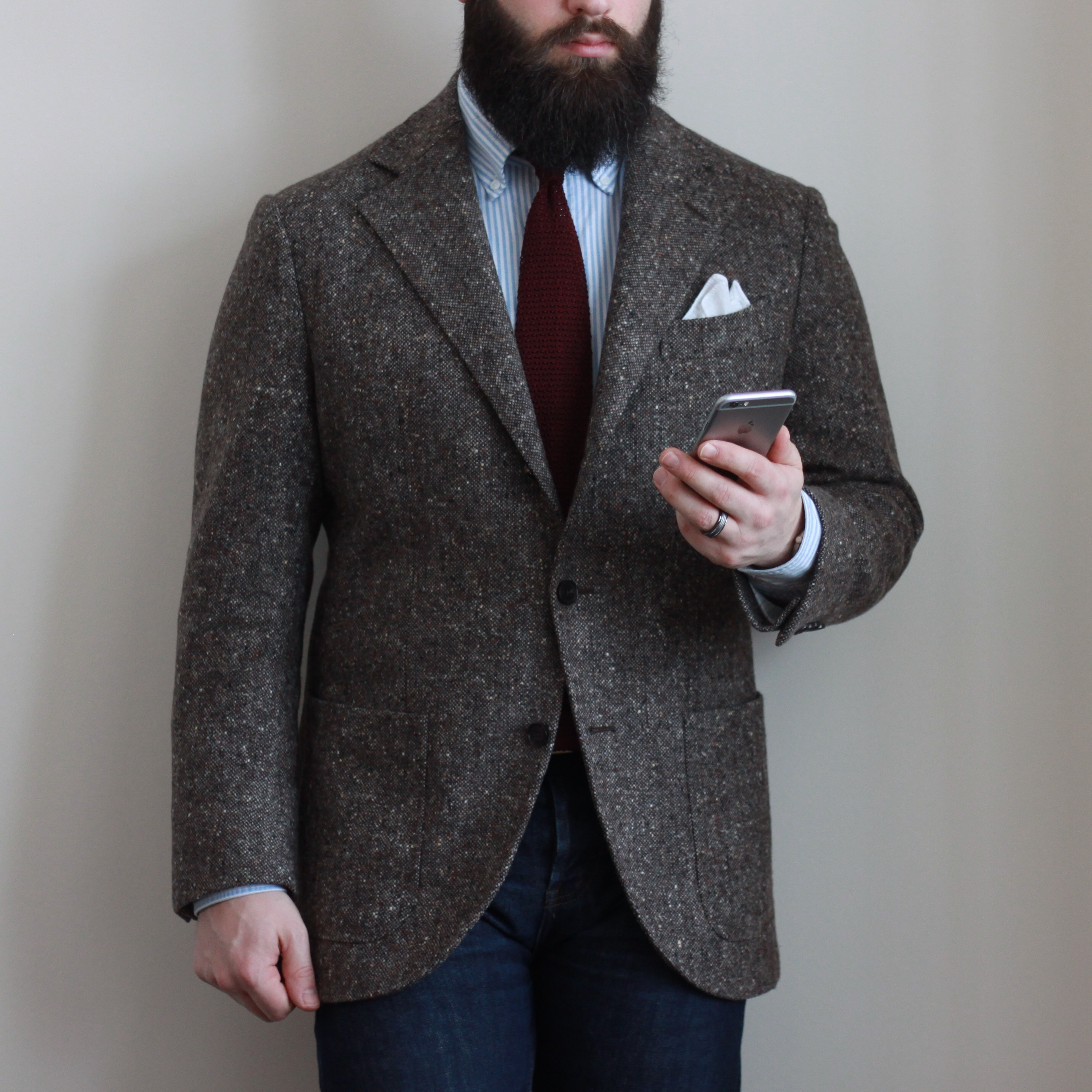 tweed, denim, knit tie, what i wore, sport coat, odd jacket, instagram pose, photography