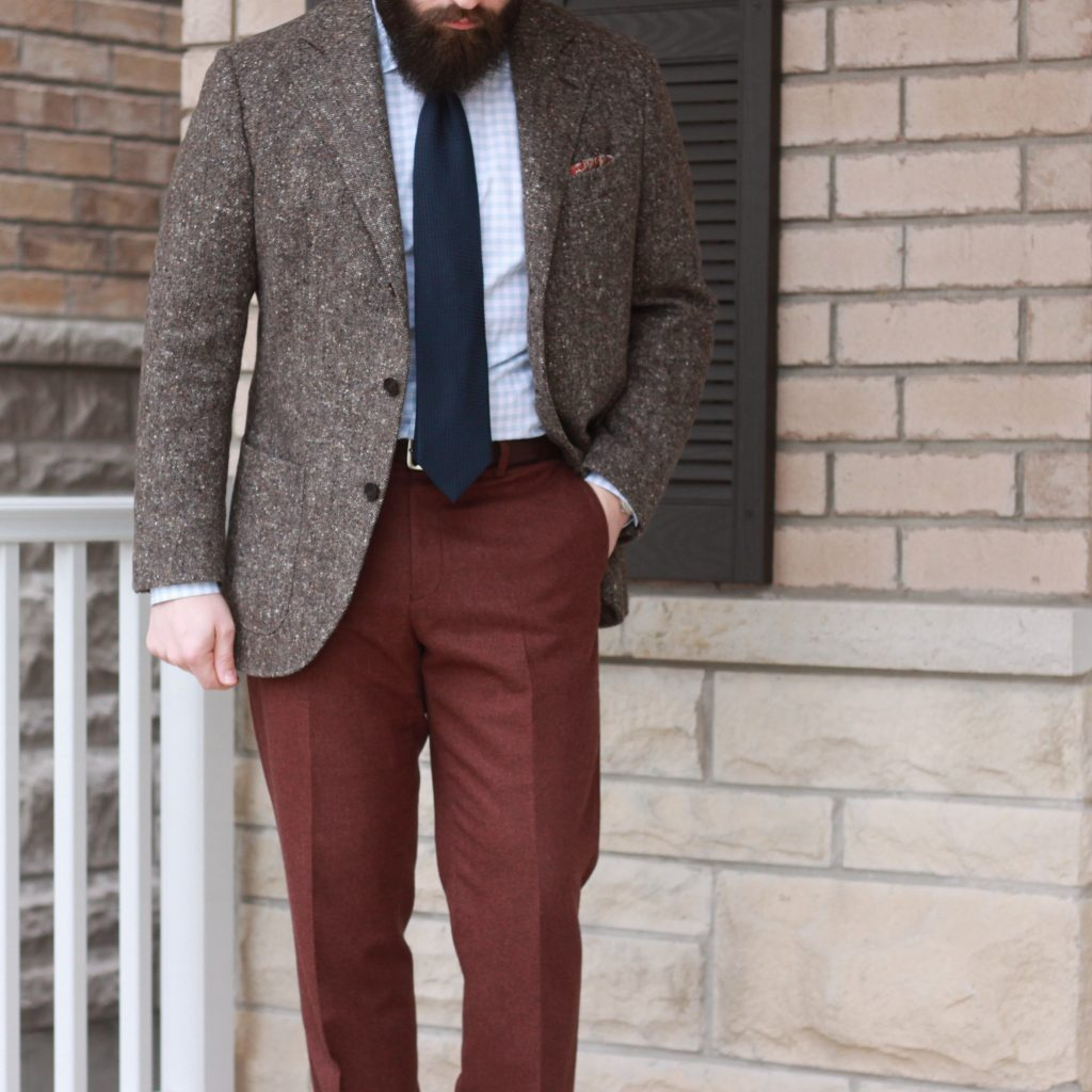 donegal, donegal tweed, sport coat, burgundy flannel trousers, navy grenadine, classic menswear, outfit