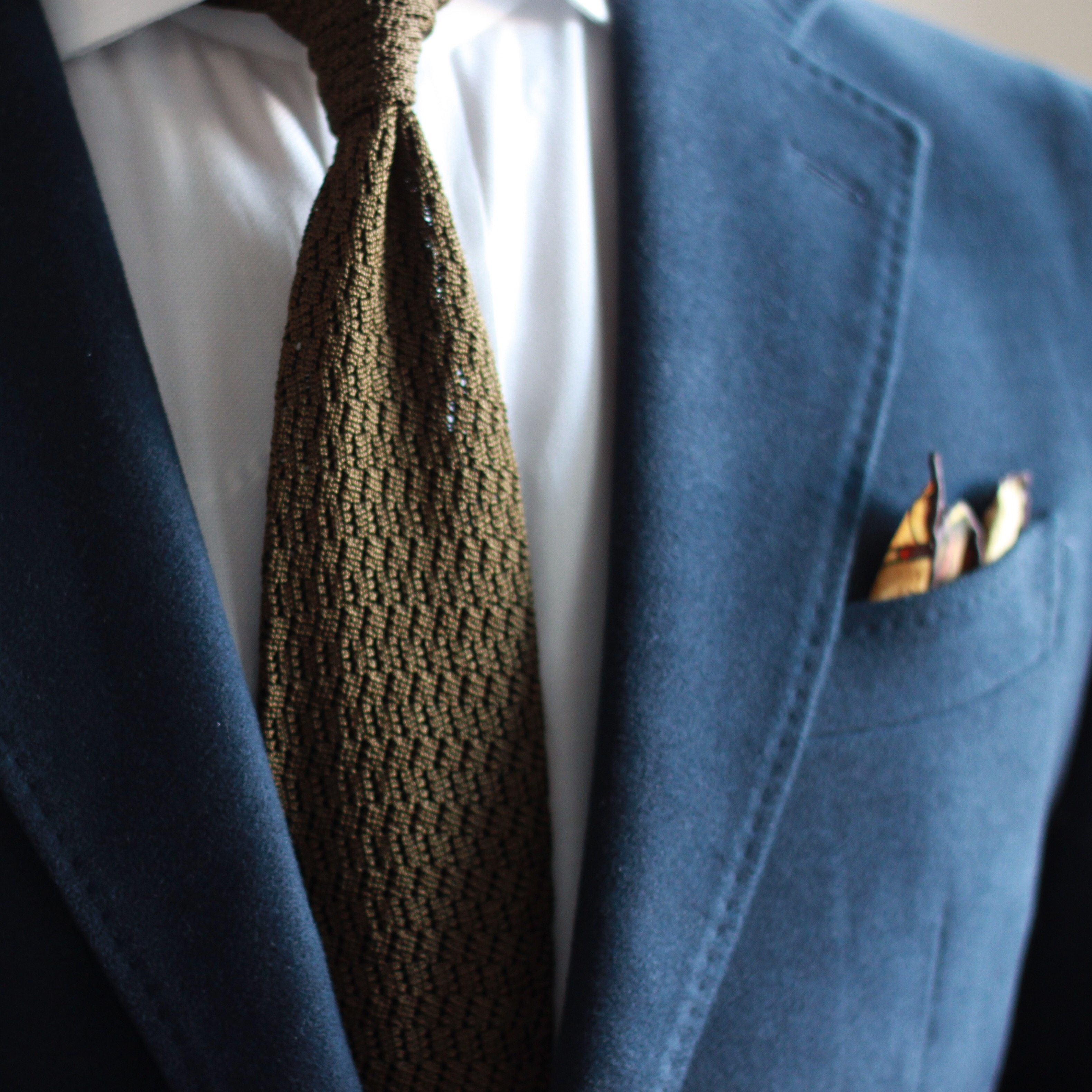 navy moleskin, olive zig zag knit, pocket square, outfit inspiration, what i wore