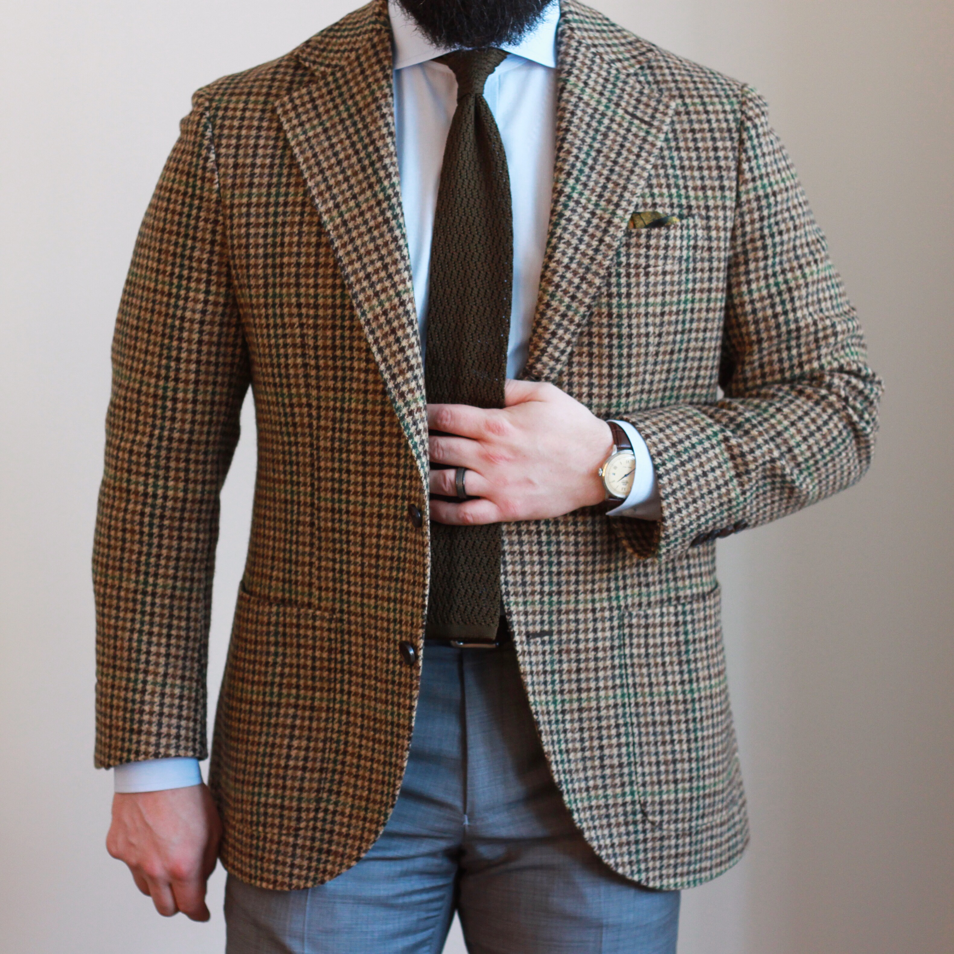 guncheck, tweed, sport coat, spier mackay, olive zig zag knit tie, oxford rowe, pocket square, kent wang, what i wore