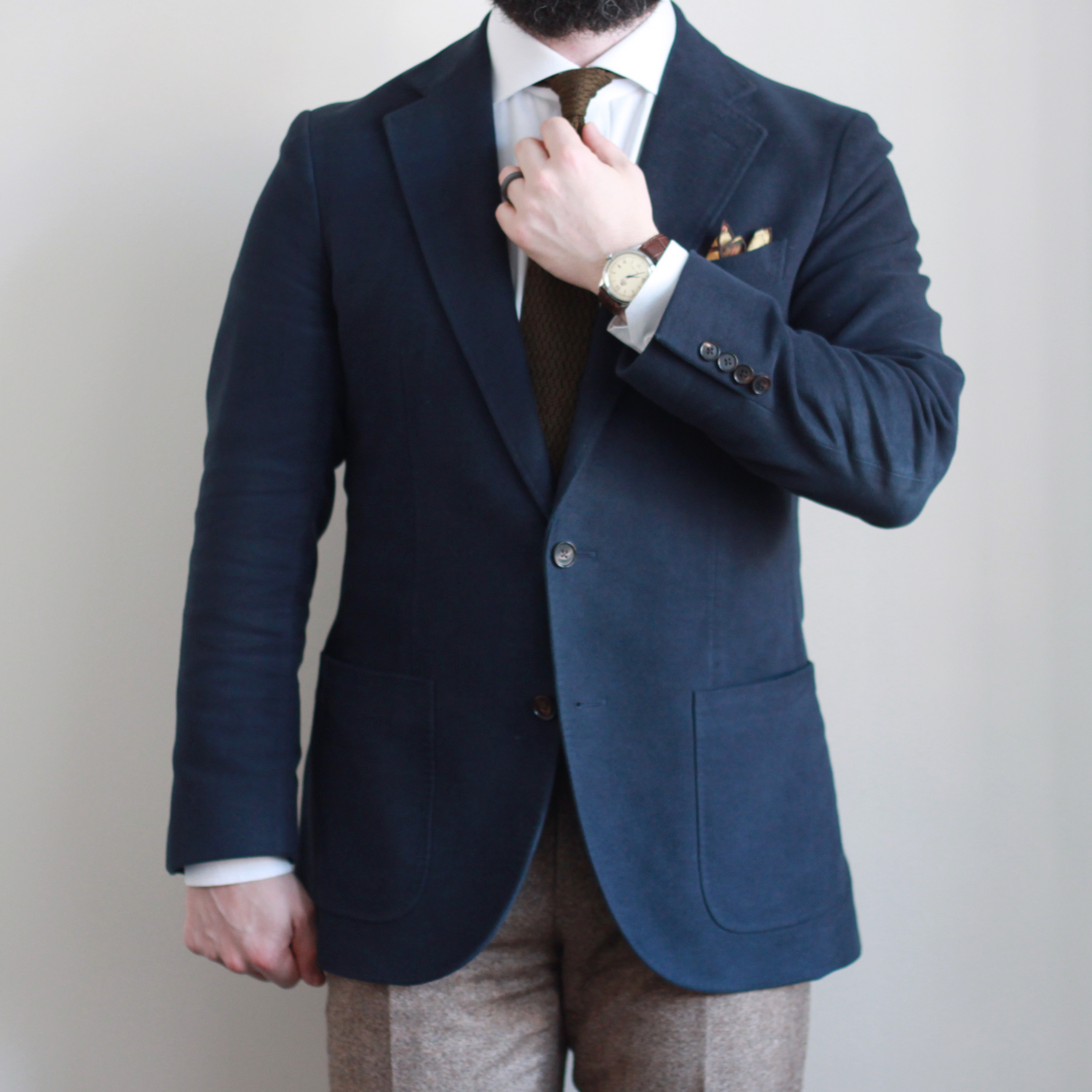 what i wore, knit tie, navy moleskin, sport coat, pocket square, taurus orion, kent wang, spier mackay, oxford rowe