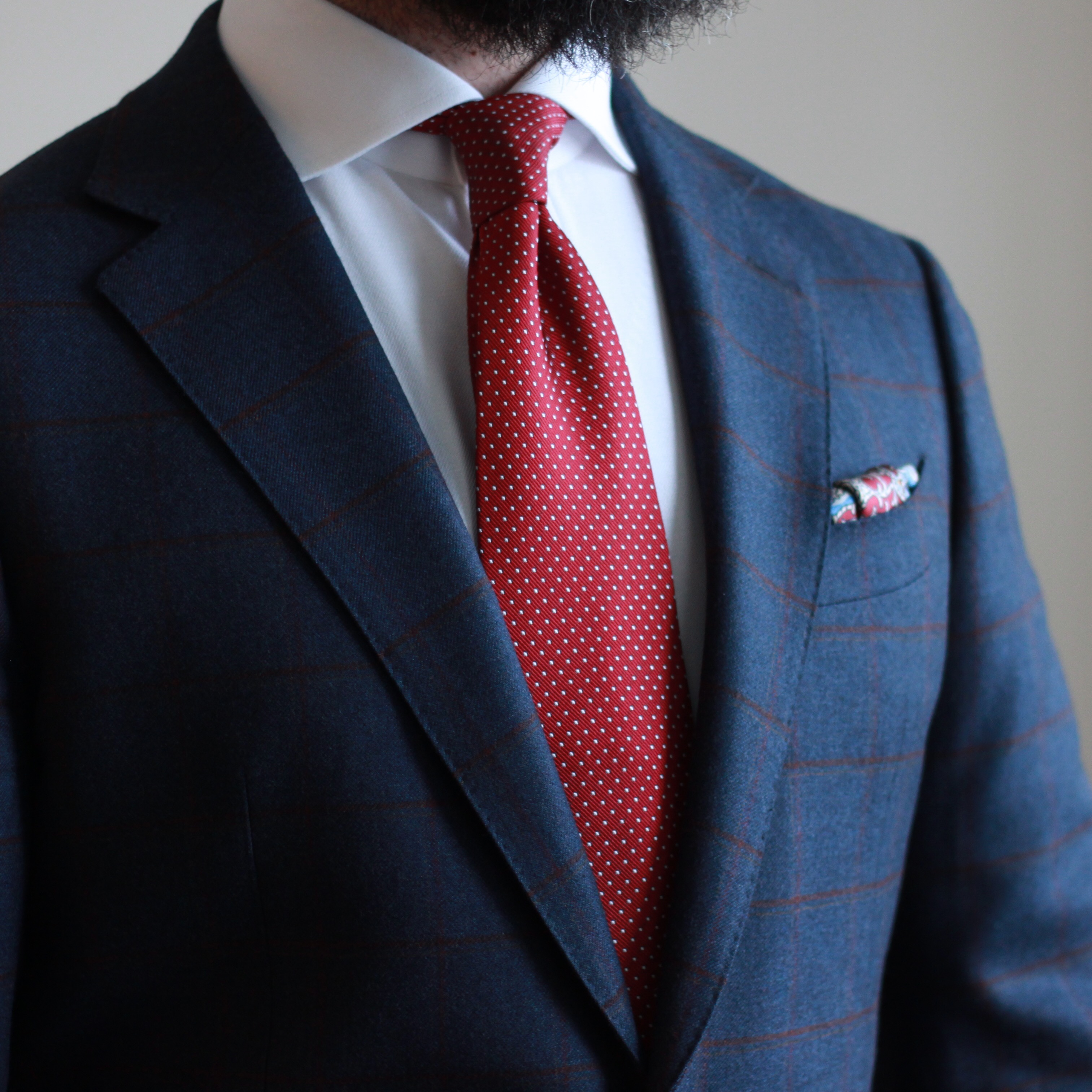 what i wore, pindot tie, pocket square, uniform, sport coat, windowpane