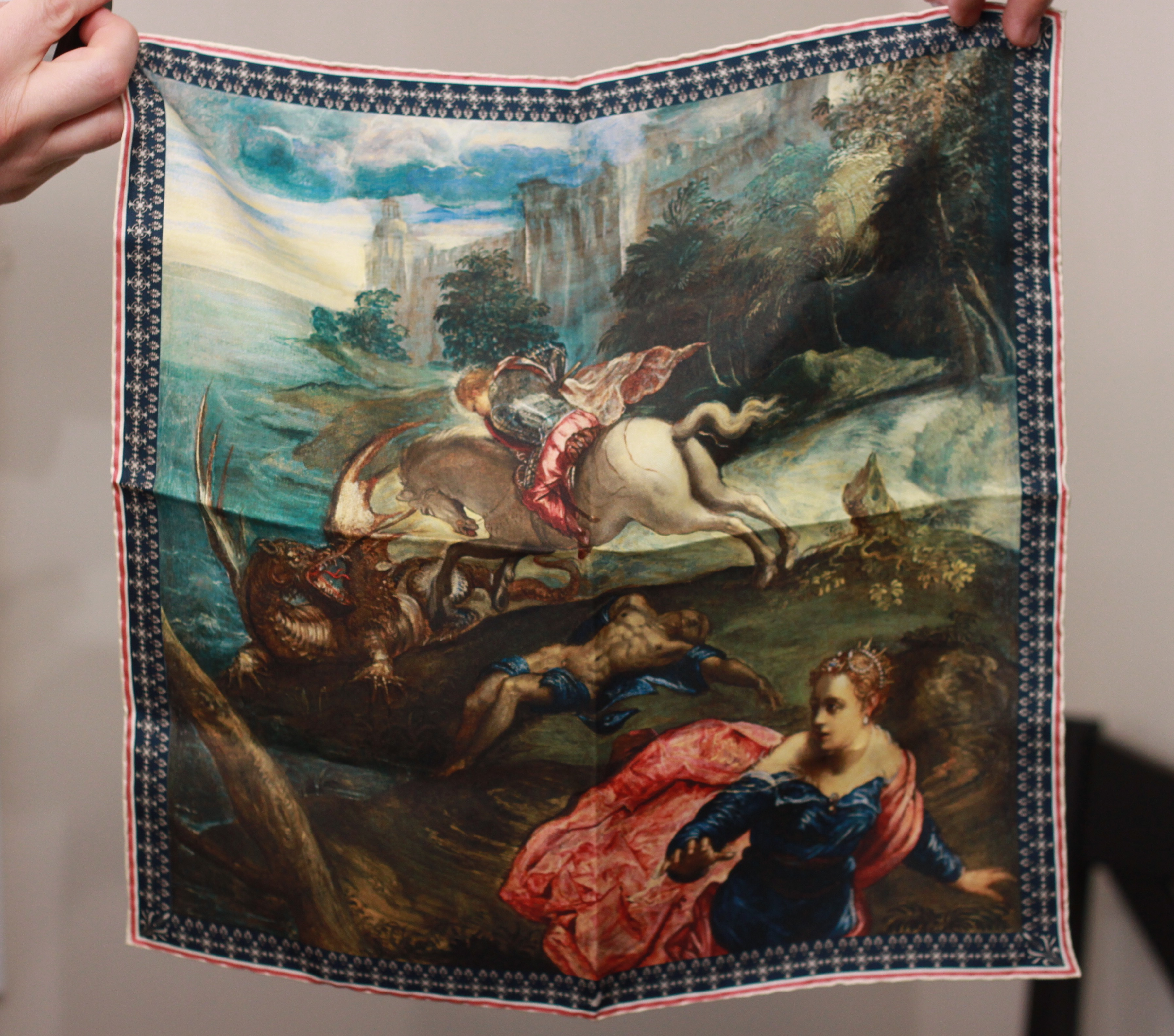 rampley & co, rampley & co pocket square, pocket square, national gallery collection, menswear, fine art, st. george and the dragon,
