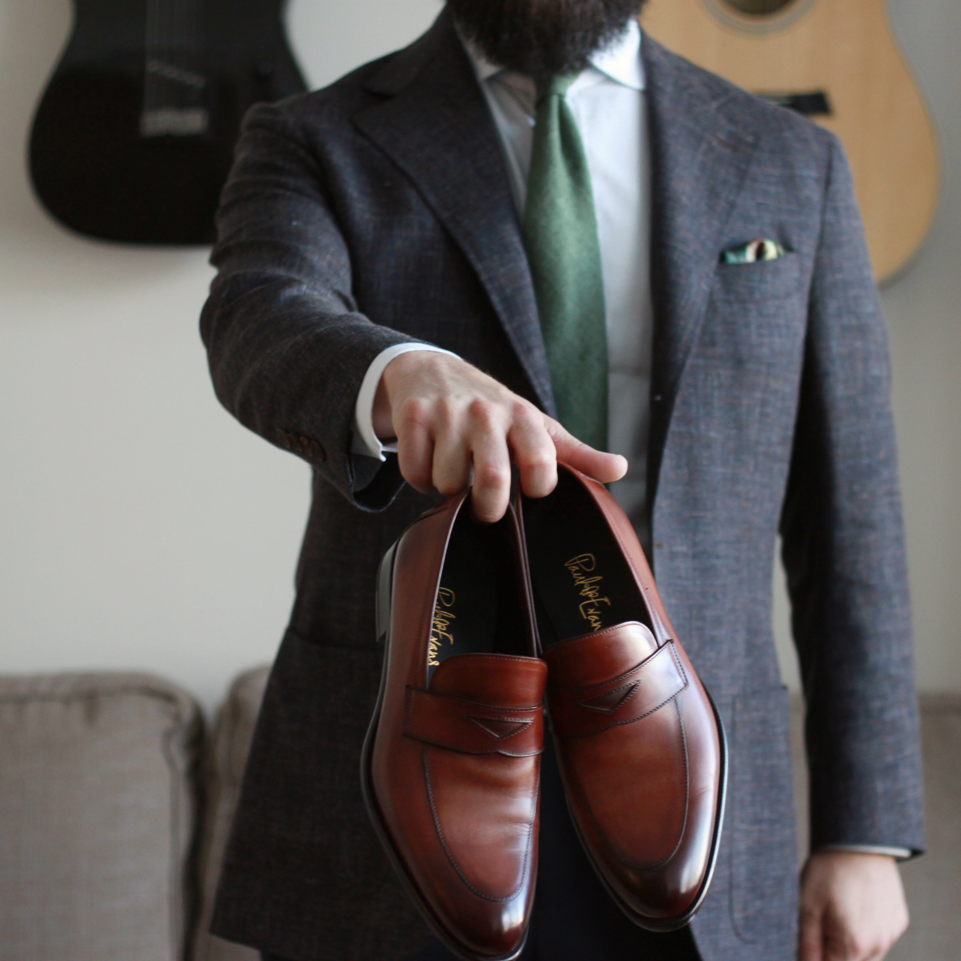 burzanhands, paul evans ny, loafers, leather loafers, havana brown, stewart penny loafer