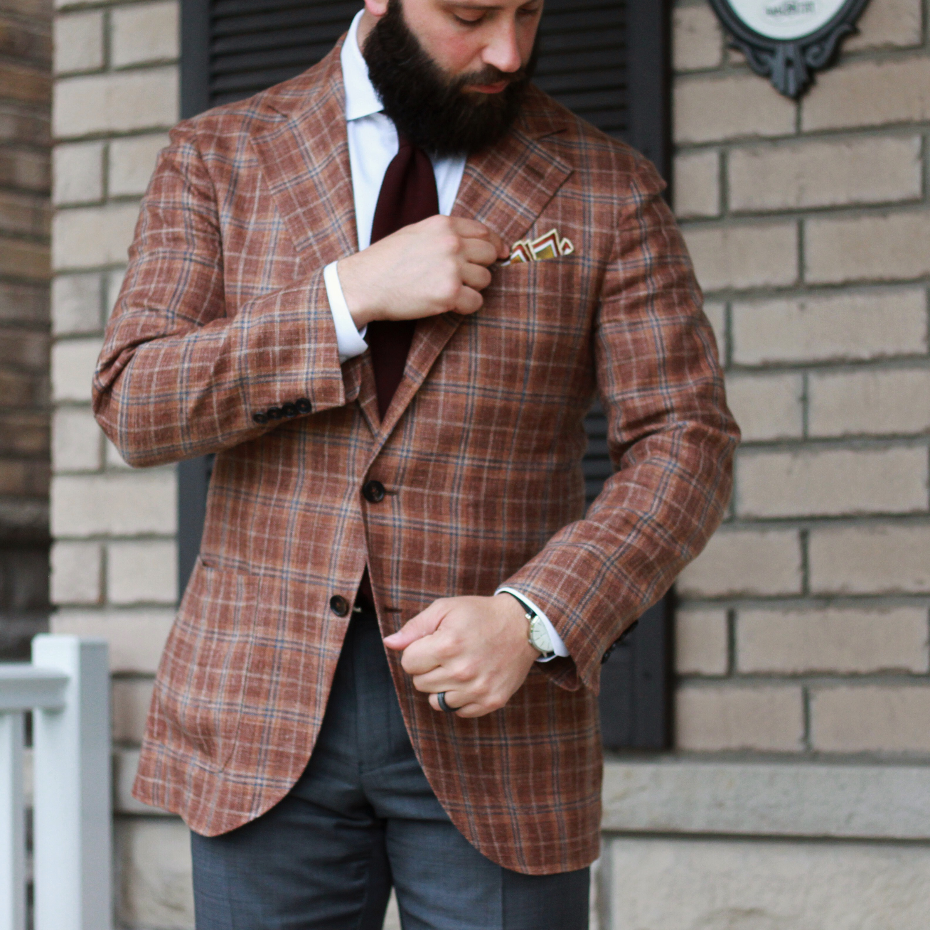 what i wore, menswear, outfit inspiration, red checks, tie, pocket square, rampley and co, spier and mackay
