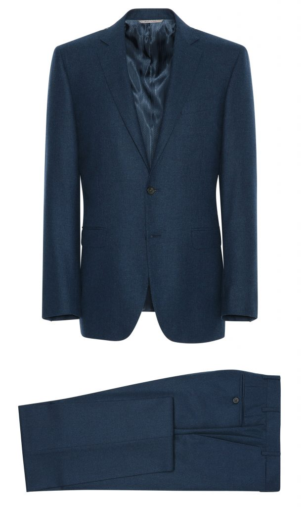 canali, suit, menswear, petrol blue, flannel