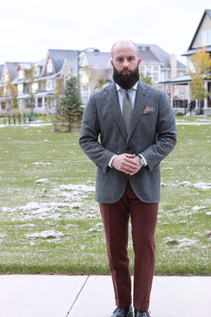 burgundy flannel trousers, outfit inspiration, outfit ideas, how to wear, menswear, after the suit