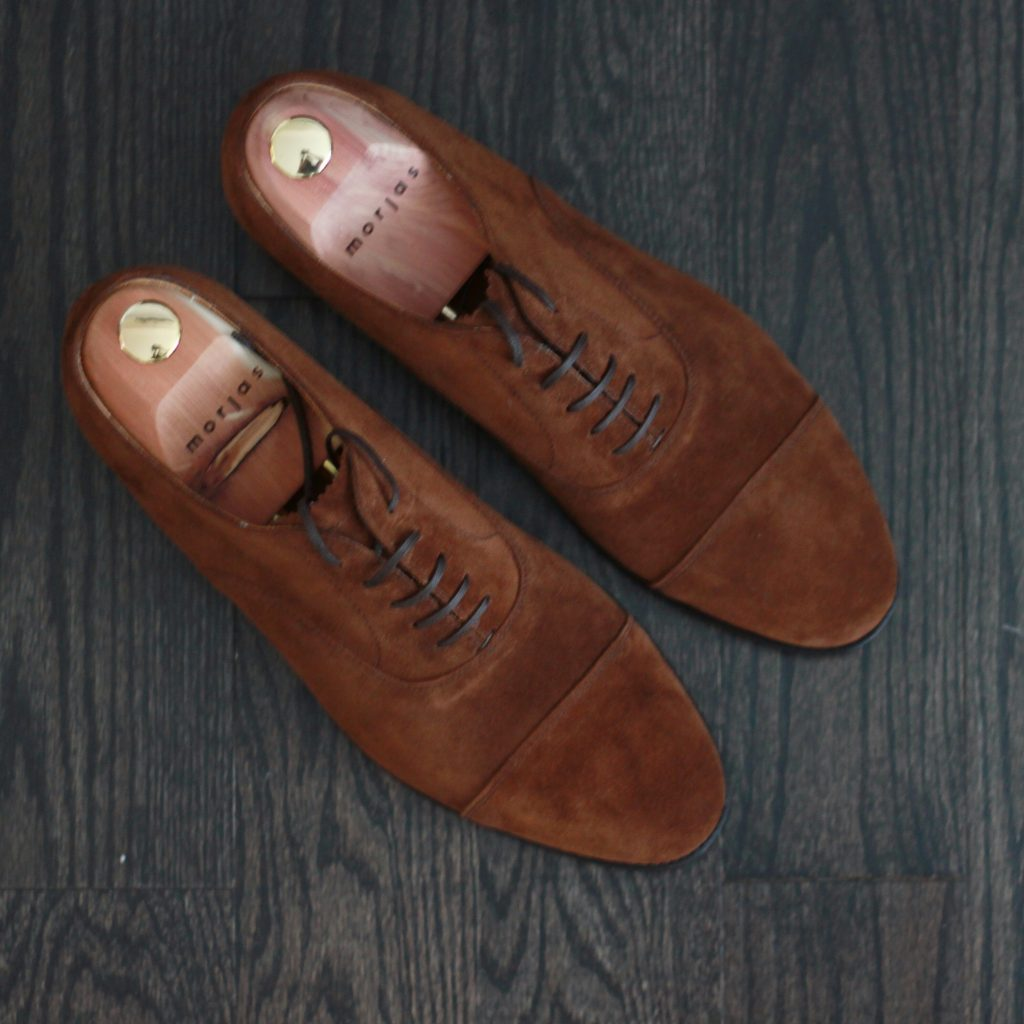 morjas, morjas review, suede shoes, cap toe, oxfords, after the suit, goodyear welt