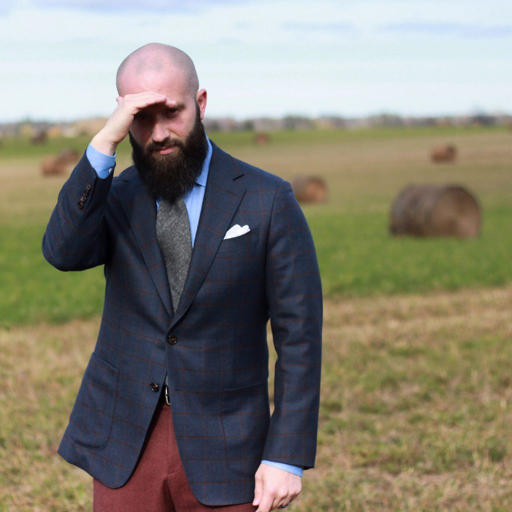blue checks, burgundy flannel trousers, white pocket square, grey tie, menswear, outfit, inspiration