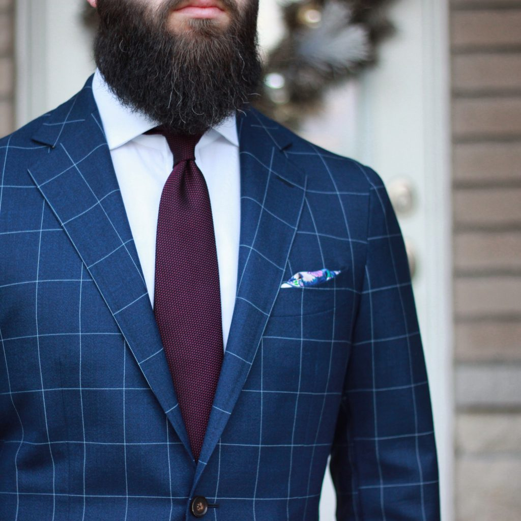 suit, windowpane suit, grenadine tie, amide hadelin, pocket square, what i wore, after the suit