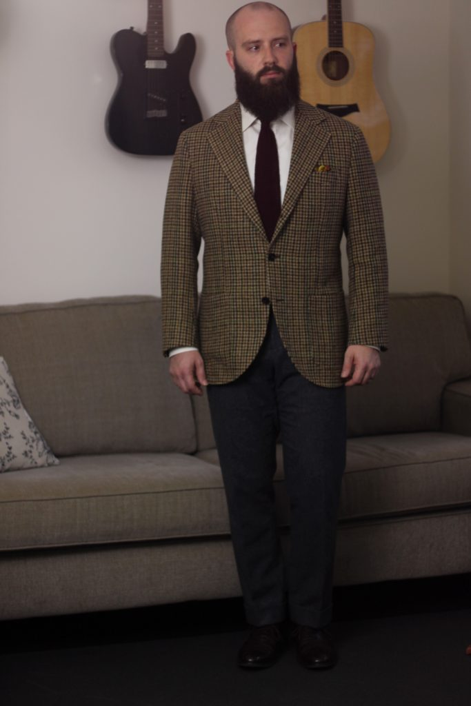 guncheck tweed, sport coat, knit tie, flannel trousers, what i wore
