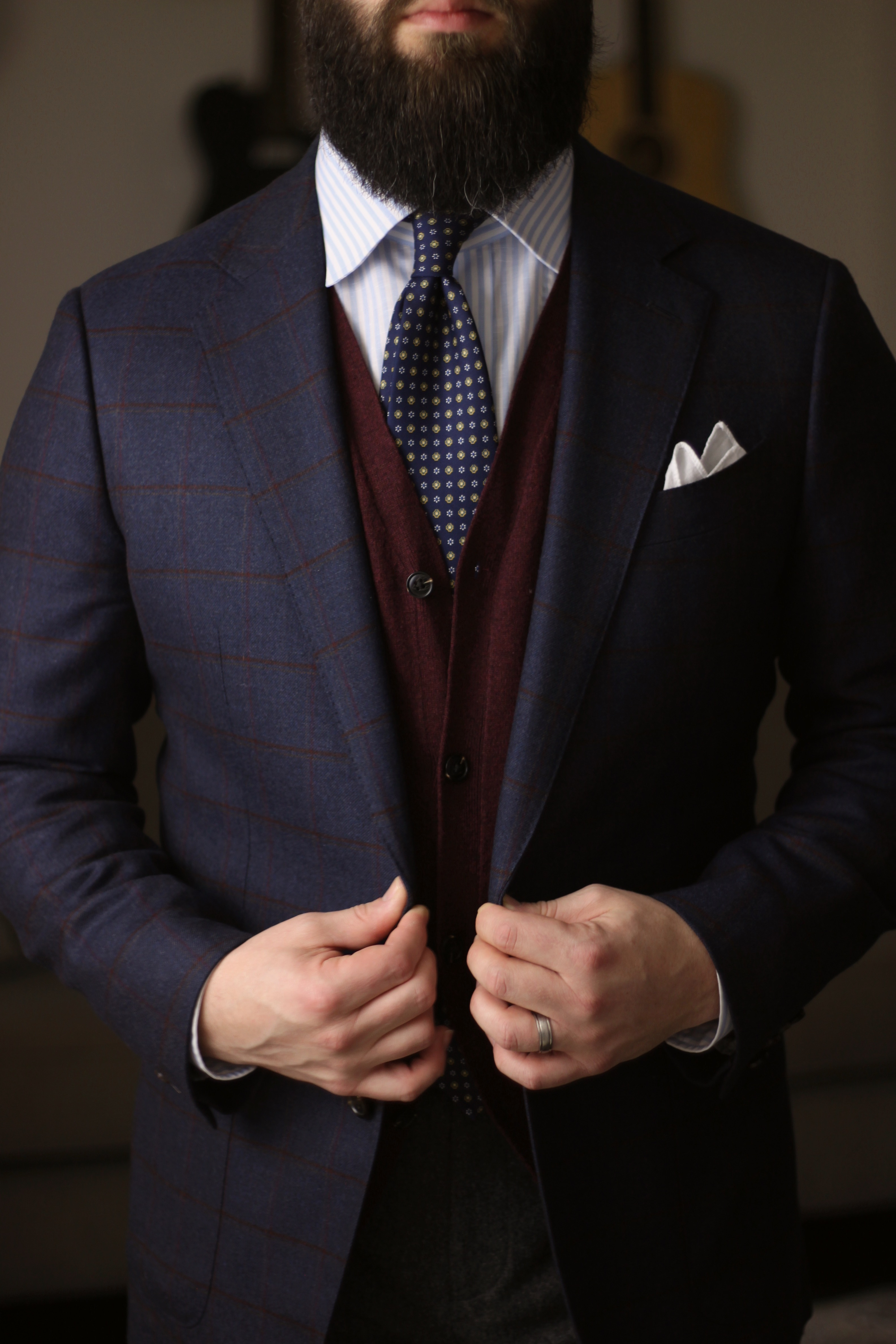 cardigan, what i wore, layers, classic menswear, tie, pocket square