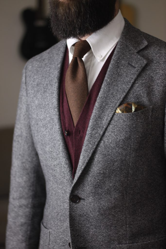 grey tweed, what i wore, cashmere tie, rampley & co, spier & mackay, after the suit