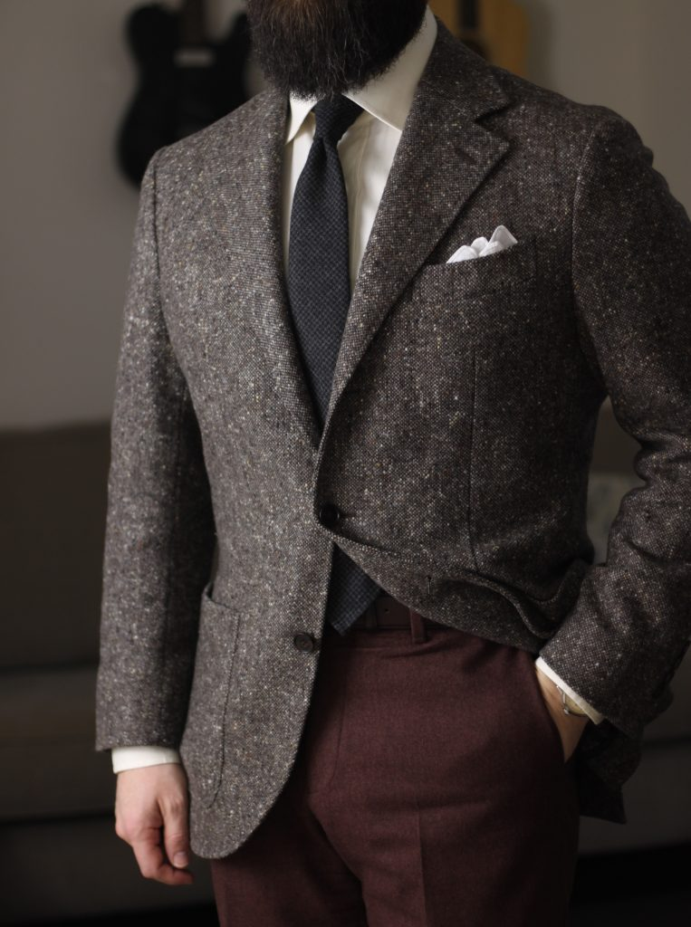oxford rowe, review, charcoal houndstooth, donegal sport coat, tweed, ecru shirt