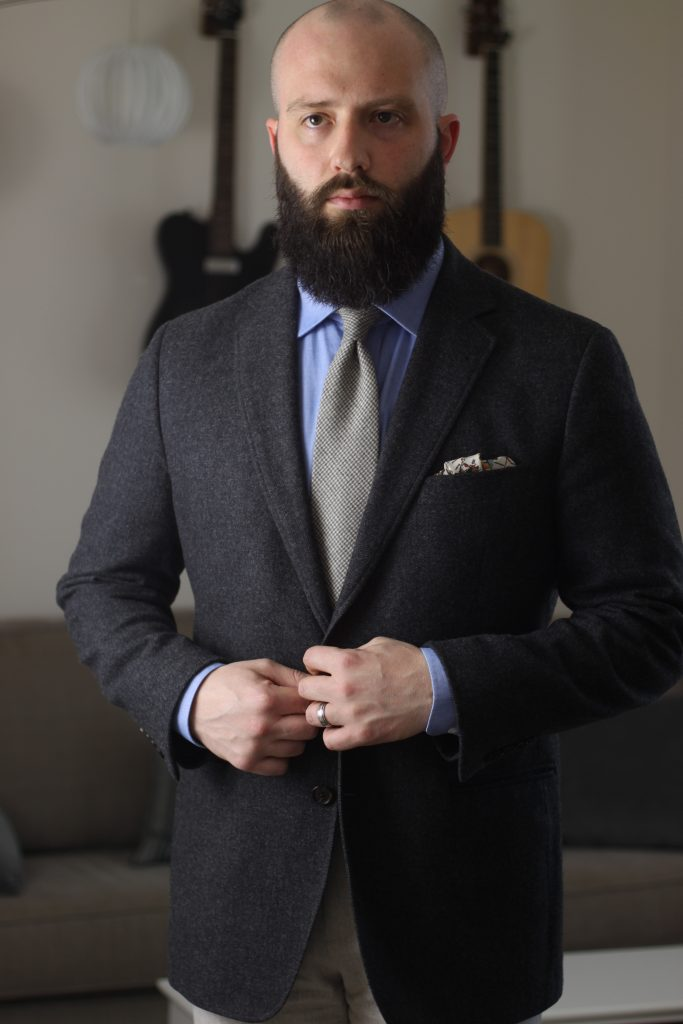 after the suit, what i wore, april 2019, brooks brothers, moon tweed, flannel trousers, chambray shirt