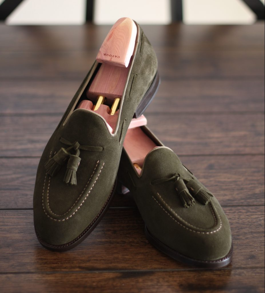 cavour review, cavour loafers, after the suit, green suede loafers, goodyear welted, cavour, loafers