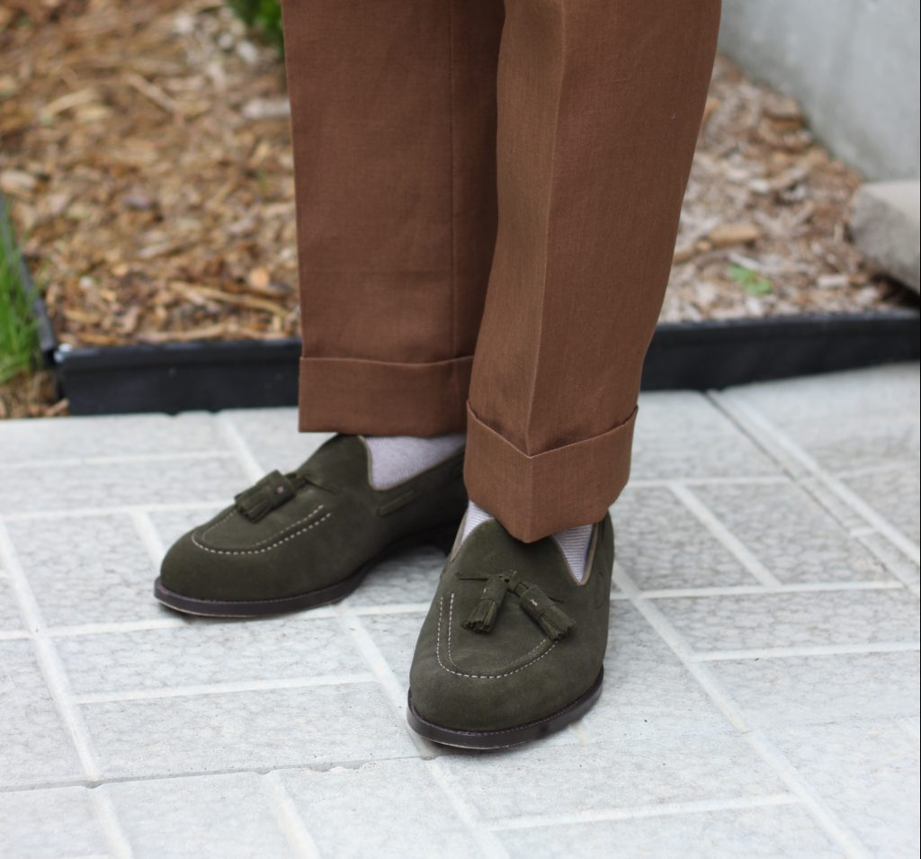 cavour loafers, tobacco linen, green suede, tassel loafers, goodyear welted, cavour, after the suit