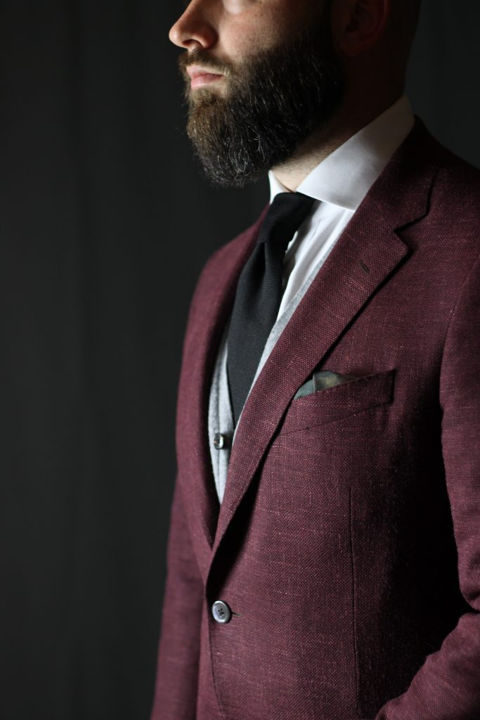 burgundy sport coat, samuelsohn, spier mackay, aklasu ties, amide hadelin, the syndics, pocket square, rembrandt, after the suit