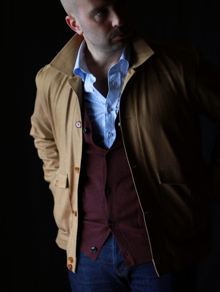 honey brown denim, red and brown, burgundy and brown, collaro, menswear, casual, denim jacket, after the suit