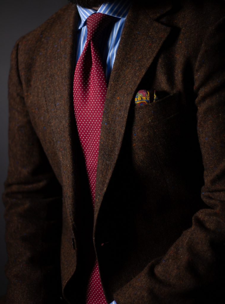 red and brown, donegal, tie, colour theory, after the suit