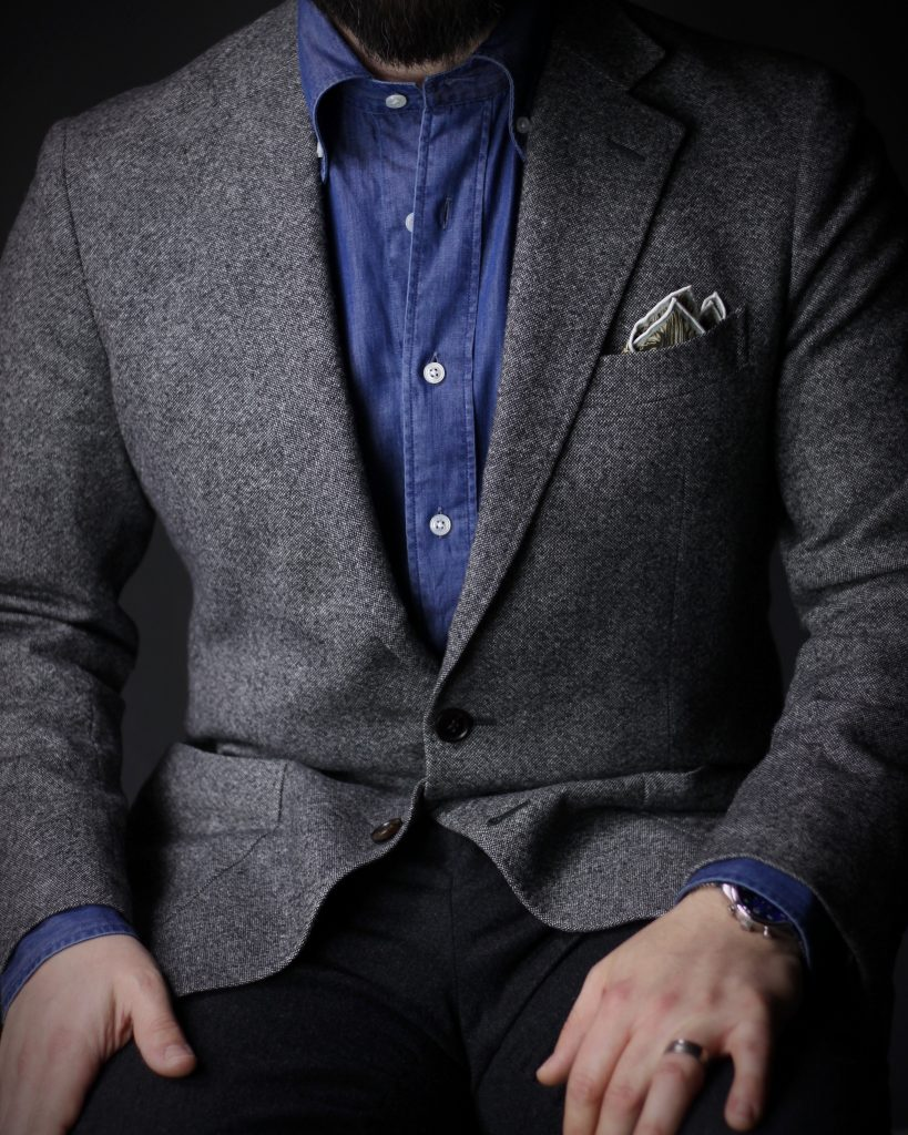 denim shirt, tweed, tweed jacket, sport coat, charcoal trousers, charcoal tailoring, after the suit, spier & mackay