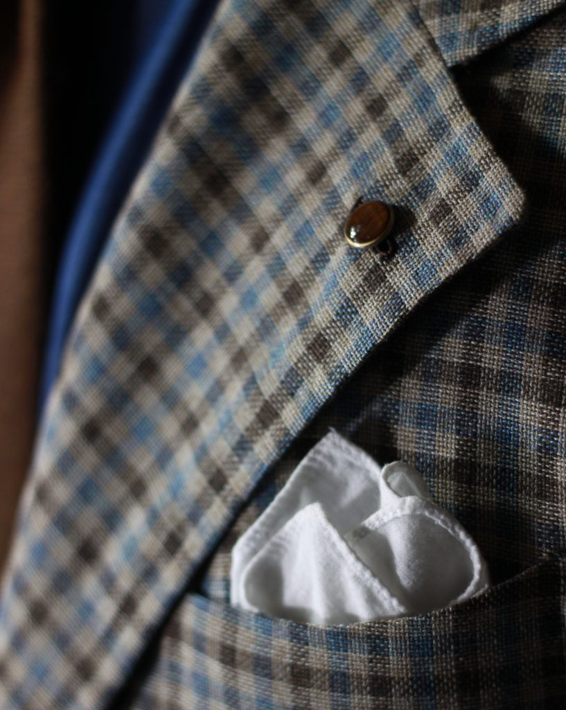 guabello, spier and mackay mto, mto program, spier and mackay, sport coat, after the suit, dapper woodworks, lapel pin