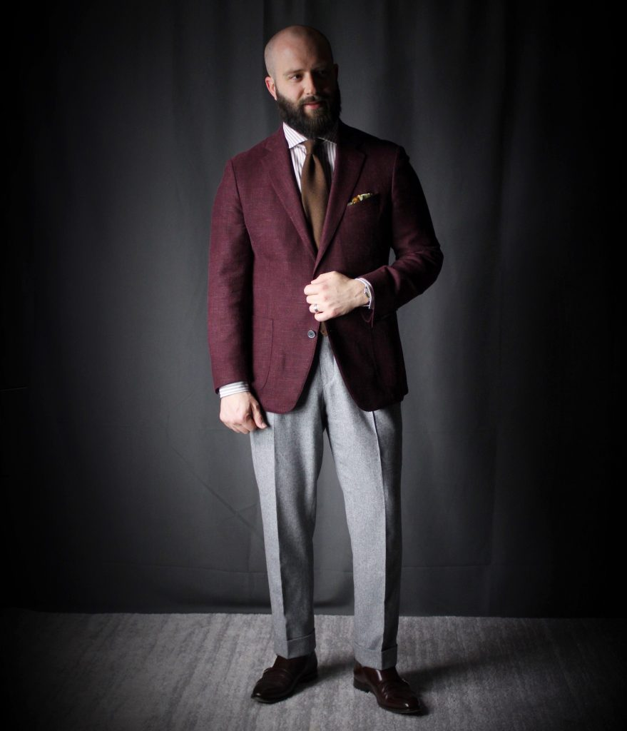 burgundy and brown, red and brown, colour theory, controlled clash, after the suit